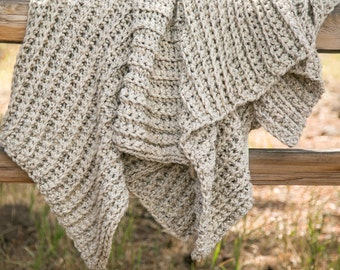 Oatmeal Throw Blanket . Wool Lap Blanket . Knit Wool Blanket . THE COLETTE in Oatmeal