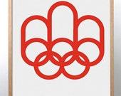 Montreal 1976 Olympics poster print Mid Century Modern Typography Games Scandinavian Bauhaus Modernist Eames Vitra → FREE GLOBAL SHIPPING
