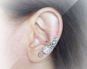 Silver Ear Cuff Opalite Rose Quartz Amethyst Turquoise Ear Wrap