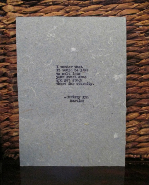 Gift for Boyfriend or Girlfriend Anniversary or Birthday ~ Romantic Love Poem Typed on Handmade or Cardstock Paper