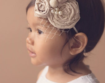 Christening headband . Rosette headband vintage inspired with pearls, birdcage netting, and lace. baby headband. photo prop