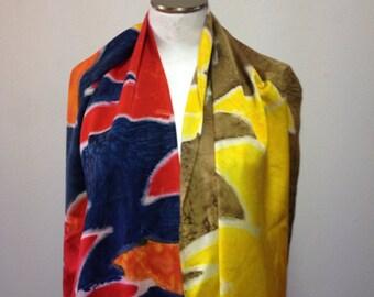 Hand Painted Silk Scarf, Silk Charmeuse, Scarf, Spring Scarf,  Medium Scarf