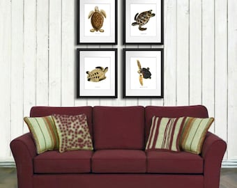 Sealife Decor Sea Turtle Decor Art Print Set Of 4 Brown Neutral Decor Loggerhead