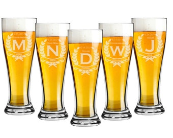 Groomsmen Glasses, 7 Personalized Beer Glasses, Custom Engraved Pilsner Glass, Wedding Party Gifts