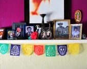 Dia de Los Muertos Papel Picado Garland - Day of the Dead decor - MUERTITOS - Ready Made