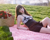 Picnic Blanket- Red Gingham- As Seen in Apartment Therapy- Waterproof Picnic Blanket