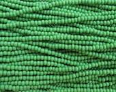 6/0 Opaque Medium Green Czech Glass Seed Bead Strand (CW112) SE