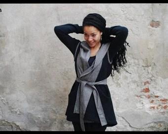 Hooded Vest, Boho Hoodie, Black Hoodie, Soft Jacket, Hooded Top, Plus Size Hoodie, Boho Clothing, Wool Jacket, Womens Jacket, Gray Jacket