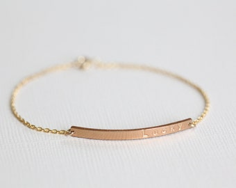 Bar bracelet, dainty bracelet, personalized bracelet, customized bracelet, name bracelet, layered bracelets - gold filled