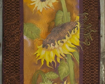 Sunflowers Art Quilt Wall Hanging Hand Painted Fiber Art Quiltsy Handmade