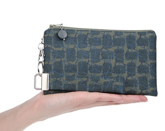 Unique clutch is a small wristlet in green & blue fabic - smart phone bag