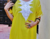 Spring Trendy Finds Yellow Moroccan Beach Cover up lounge kaftan caftan wear for gift maternity wedding  bridesmaid gift