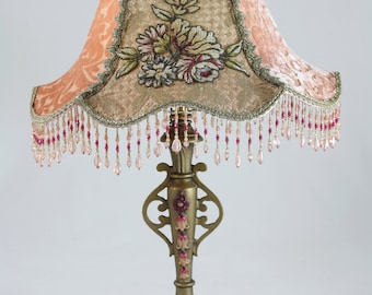 SALE!  Victorian LAMP French Chenille Embroidered Applique VINTAGE