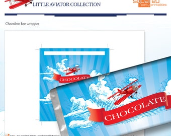 LIttle Aviator Printable Birthday Chocolate Wrappers - Red and Blue - DIY Print - Airplane Party - Instant Download