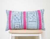 RESERVED FOR HELEN - Indigo batik and embroidered Hmong textile cushion cover 12x20