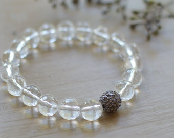 Rock Crystal Stretch Gemstone Bracelet // Faceted Clear Gemstones // Gunmetal Pave Bead // Clear Gemstone Bracelet