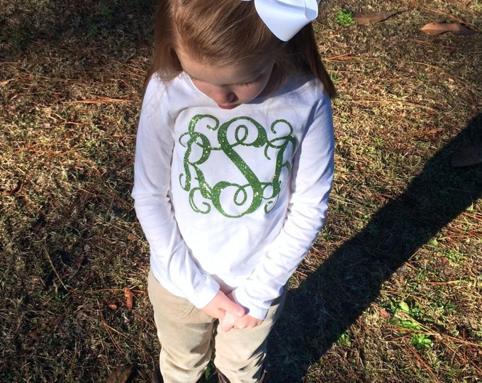 Long Sleeve Glitter Monogram T Shirt with Monogrammed Hair Bow, Monogrammed gifts, Personalized Cheer gifts, Monogrammed Long Sleeve Shirt