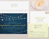Twinkle Lights Wedding Invitation & RSVP Set -  Light Strand Wedding Invitation, String of Lights Wedding Invitation, Fireflies Invitation