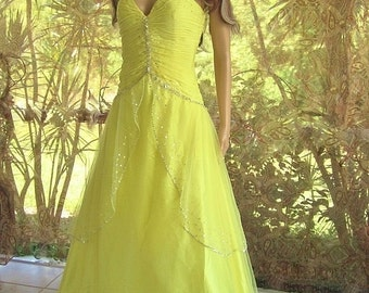 Lemonade  prom dress costume upcycled as  Beauty and the Beast costume for Halloween or Cinderella's evil stepsister
