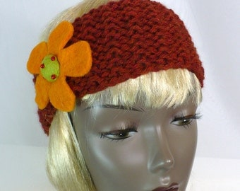 Retro Hippie Head Wrap, Hand Knit Headband with Flower, Paprika Earwarmer, Boho Headband, Chunky Knit Fall Headband, Handmade in the USA
