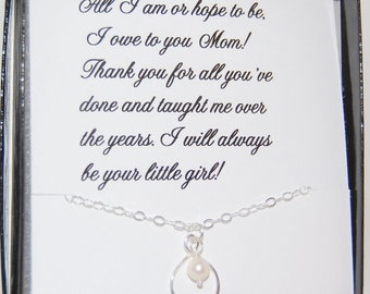 Mother of the Bride Infinity Gift, Thank you MOM, Mother of the Bride card with Sterling infinity necklace, Mothers day gift, Brides mother