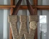 Twine Letter Monogram Wreath - Initial Wreath - Home Decor - Wall Decor - Wedding Decor - Letter Decor-Bridesmaid Gift-Gift