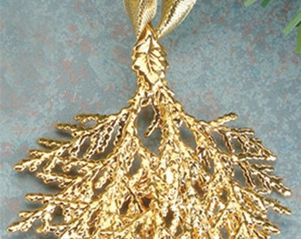 Real Cypress Leaf Dipped in 24k Gold - Christmas Ornament