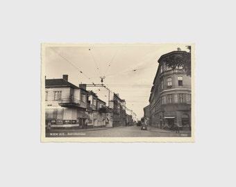 1940s Real Photographic Postcard of Billrothstraße, Vienna, Austria - Billrothstrasse Wien European city building people photograph picture