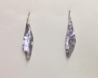 Sea Kelp Earrings, Hammered Sterling Silver, Abstract Leaves, Forged and Handmade by LisaJStudioJeweler.