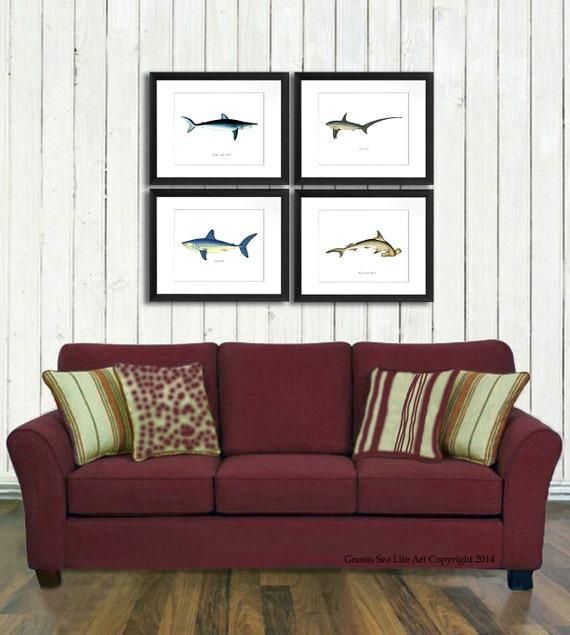 shark decor art print set of 4 boy bedroom nautical decor