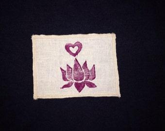 Organic Lotus and Heart Patch -Organic Cotton and Hemp