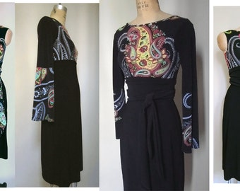 Black dress Boat neck dress Empire High Waisted dress Bold Paisley Print Dress with Extra Long Obi wide removable Sash