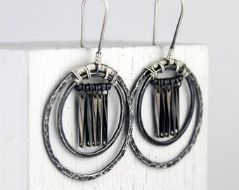 Hammered Silver Double Hoops with Pyrite and Gunmetal Dangles, Woven Tribal Earrings, Boho Jewelry