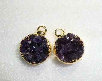 Dark Purple Amethyst Drusy Druzy 24K Gold Electroplated, Earrings Pair, Tiny Pendants,  Natural, Sparkles Sparkles, 12% Sale, 1 pair, m7pa