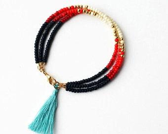 Beaded Tribal Bracelet - Layering Bracelet - Bracelet with Teal Tassel - Multi Strand Bracelet
