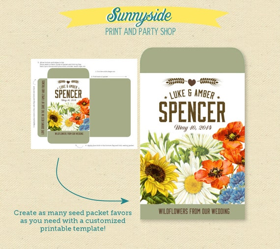 Wildflower And Wheat Printable Seed Packet Favor
