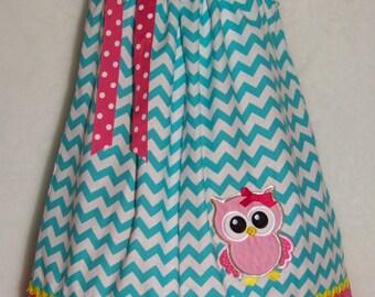OWL Pillowcase Dress / Blue Chevron & Pink / Cute / Girly / Birthday / Newborn / Infant / Baby / Girl / Toddler / Custom Boutique Clothing