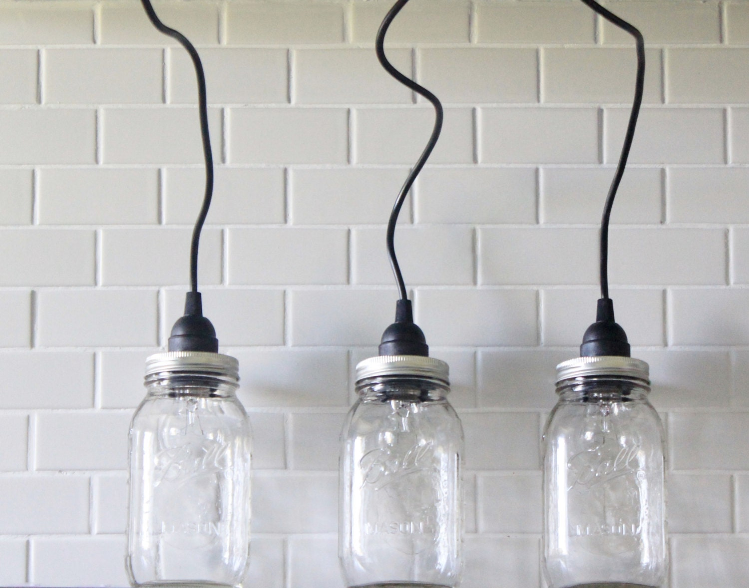 3 hanging mason jar pendant lights three vintage lights for Hanging lights made from mason jars