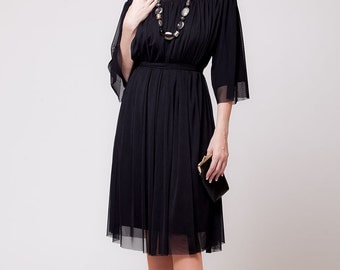 Bohemian Greek dress, classic black chiffon dress - women wear off the shoulder    sizes : XS / S / M / L / Xl