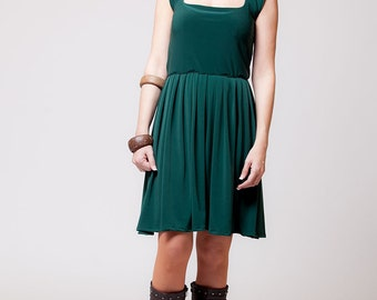 Green midi summer dress, bohemian dress, women tunic dress, knee length, sweetheart neckline   sizes : XS / S / M / L / Xl