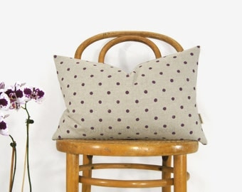 Lumbar 12x18 Polkadot Decorative Pillow Case, Minimalist Decorative pillows in Plum and Beige | Purple Hand Printed Polka Dots Cushion Cover