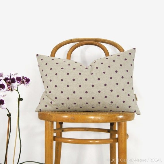 Personalized Polkadot Decorative Pillow Case in your Color, Fabric and Size 12x18, 16x16 or 18x18 | Hand Printed Polka Dots Cushion Cover