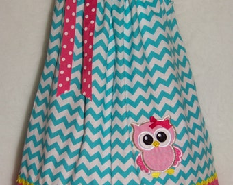 OWL Pillowcase Dress / Blue Chevron & Pink / Cute / Girly / Birthday / Newborn / Infant / Baby / Girl / Toddler / Custom Boutique Clothing