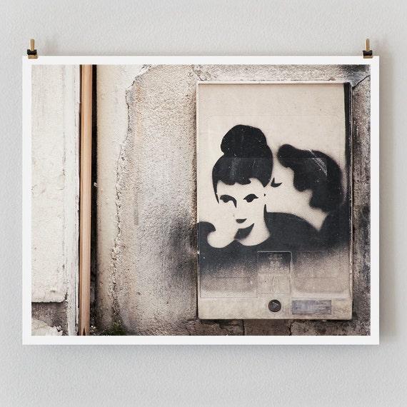 "Paris Photography, ""Graffiti Kiss"" Large Art Print, Modern Wall Art, Minimalist Paris Print, College Student Gift for Her"
