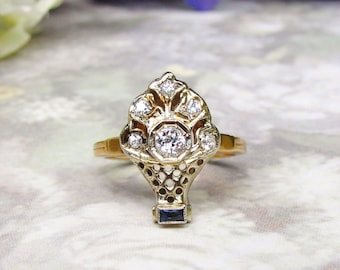 Antique Engagement Ring Old European Cut Diamond & Sapphire Ring Unique Flower Basket Ring 14K Gold Filigree Diamond Wedding Ring