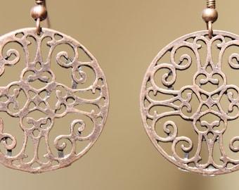 Copper Earrings Dangle Boho Earrings Filigree Flower Earrings Copper Earrings Jewelry