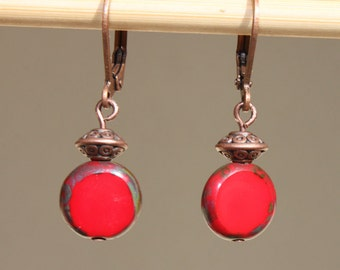 Red Earrings Copper Earrings Simple Dangle Czech Glass Earrings Boho Earrings Small Earrings Jewelry