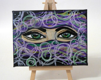 BubbleEye Postcard Size Canvas with Easel