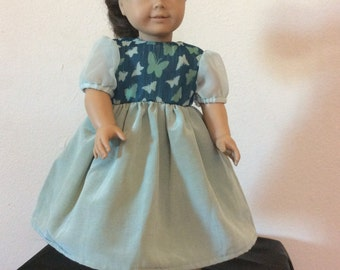 "Beautiful Butterfly & Green Taffeta  18"" / American Girl Doll Dress"