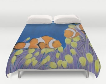 Duvet Cover King, Queen, Full Clownfish Underwater